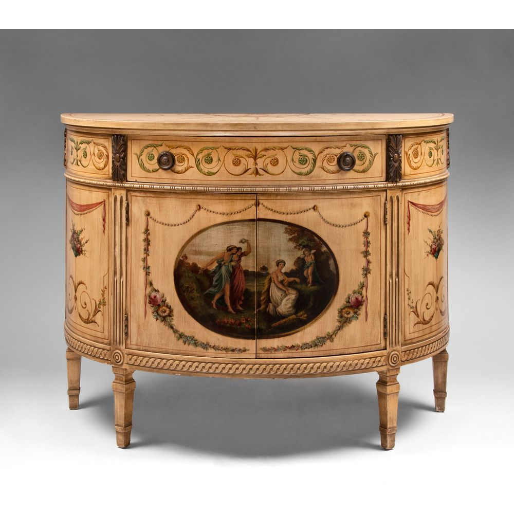 Mid 20th C. Adams Style Painted Demilune Cabinet : Piau0027s Antique Gallery |  Ruby Lane