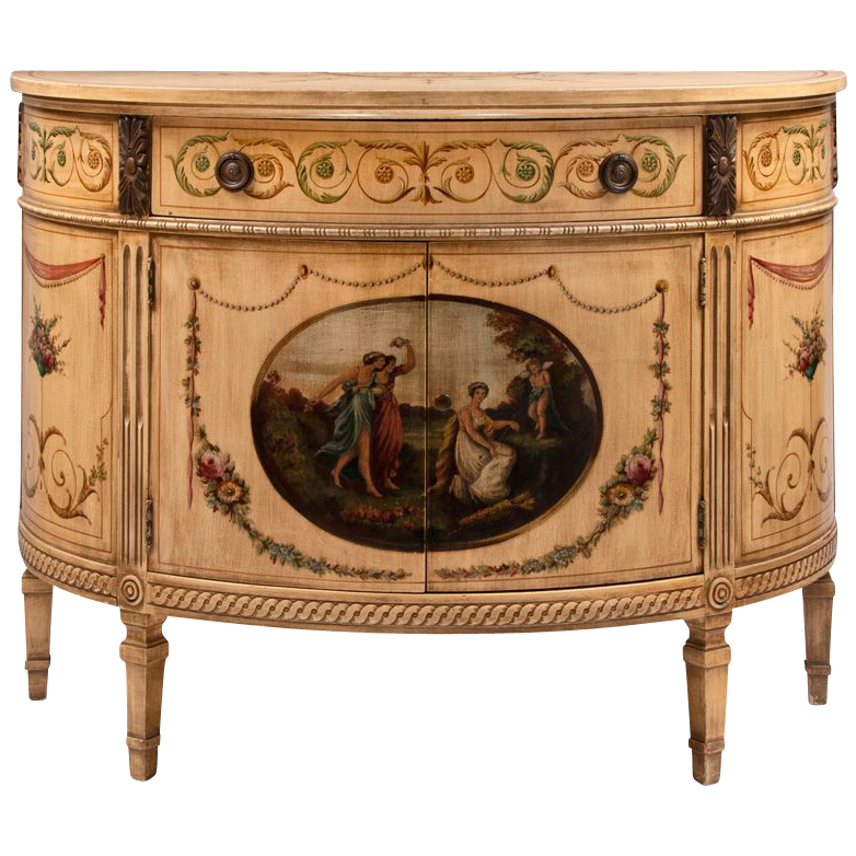 Mid 20th C. Adams Style Painted Demilune Cabinet