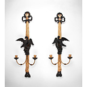 Pr. Of Late 19th C. Italian Gilt And Patinated Carved Neoclassical Sconces