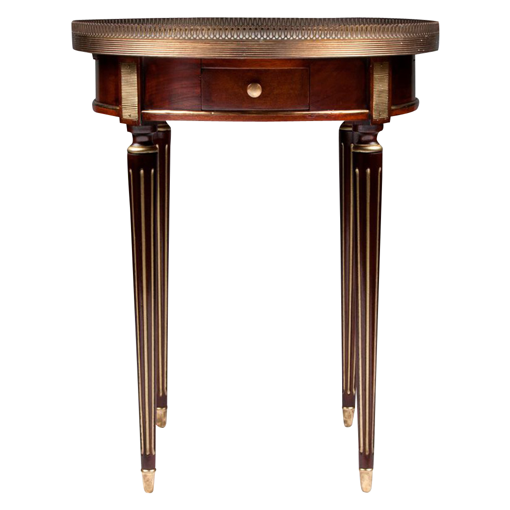 Louis XVI Style Mahogany Bouillotte Table Mounted in Bronze