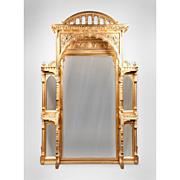 Massive 19th C. English Moorish Revival Giltwood Over Mantle Mirror