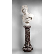 Late 19th C. Italian Marble Bust of the Apollo Belvedere With Pedestal, After Original
