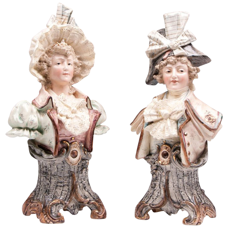 Pair of 1900 German Turn Teplitz Majolica Busts