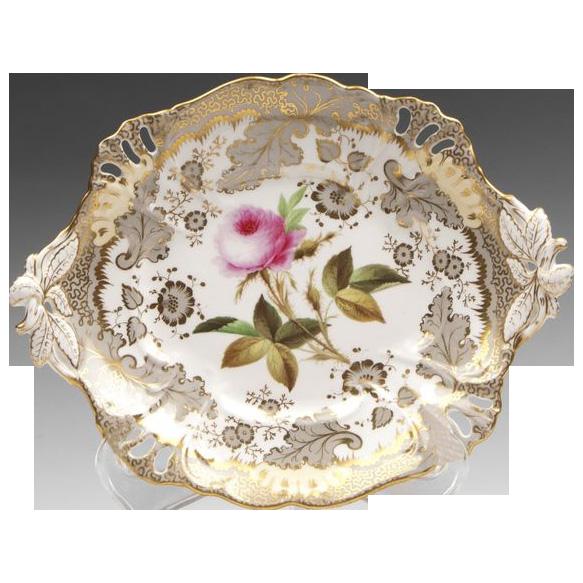 1830 English Ridgway Botanical Dessert Low Tazza