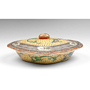 19th C. Chinese Export Famille Jaune Vegetable Bowl & Cover