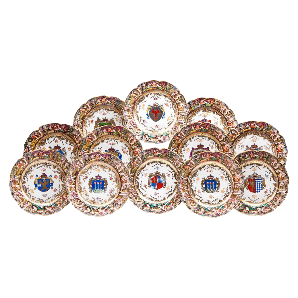 Set of 12 Capodimonte German Porcelain Bas Relief Dinner Plates