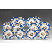 Set of 12 Davenport Dessert Plates, Hand Painted Scenes, 1830 – 1855