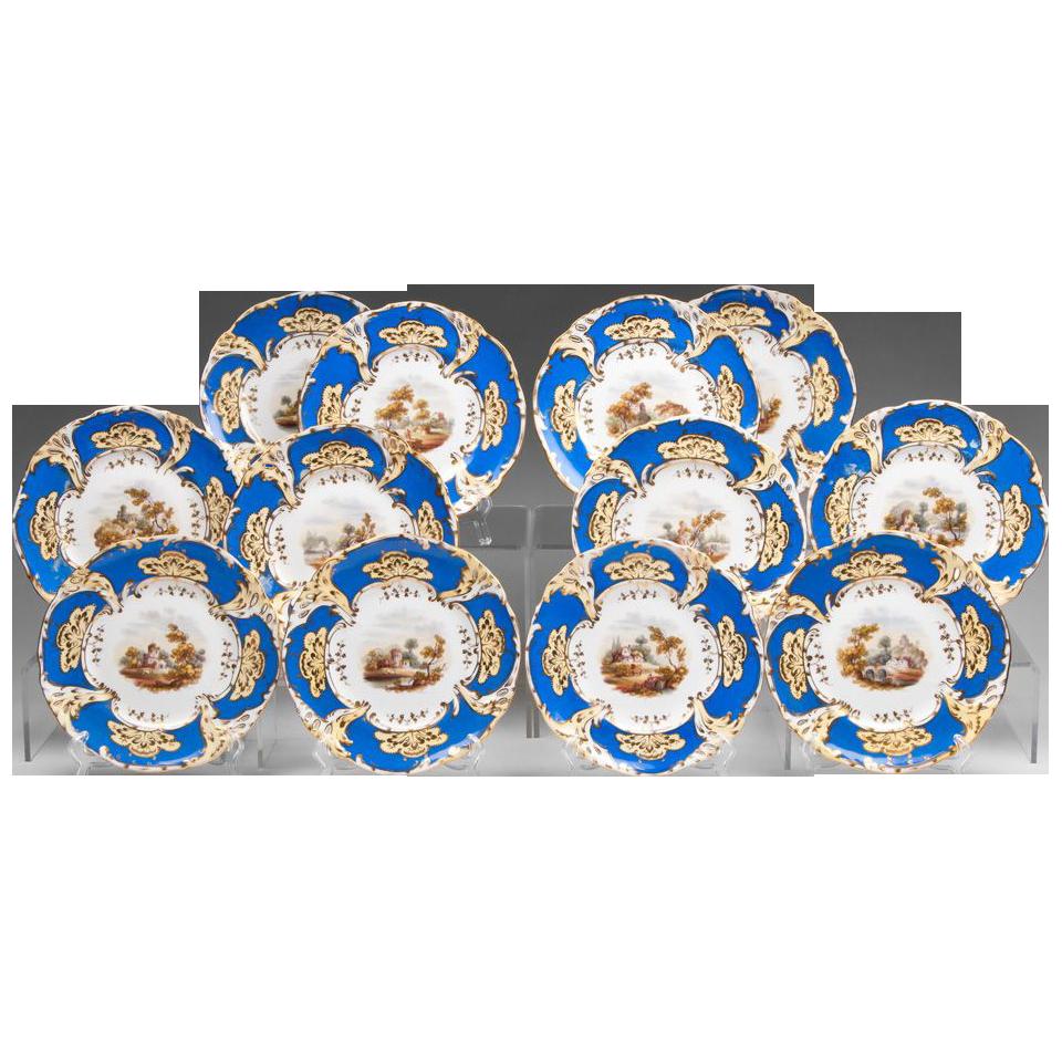 Set of 12 Davenport Dessert Plates, Hand Painted Scenes, 1830 – 1855