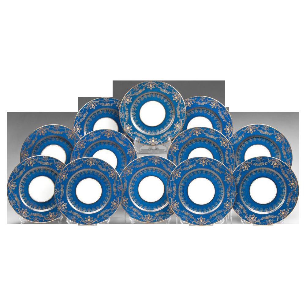 Set of 12 Crescent Marked George Jones China Service Plates