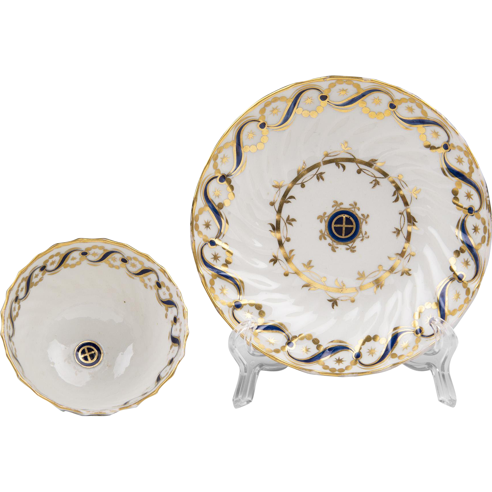 18th C. English Soft Paste Porcelain Tea Bowl and Saucer, Attributed To Caughley