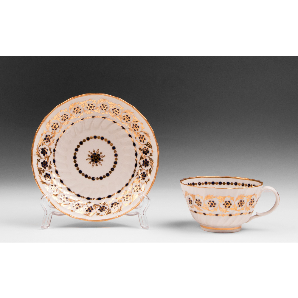 Worcester Flight Period Tea Cup With Saucer, 1783 – 1792