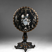 English Victorian Papier Mache Japanned Tilt Top Table