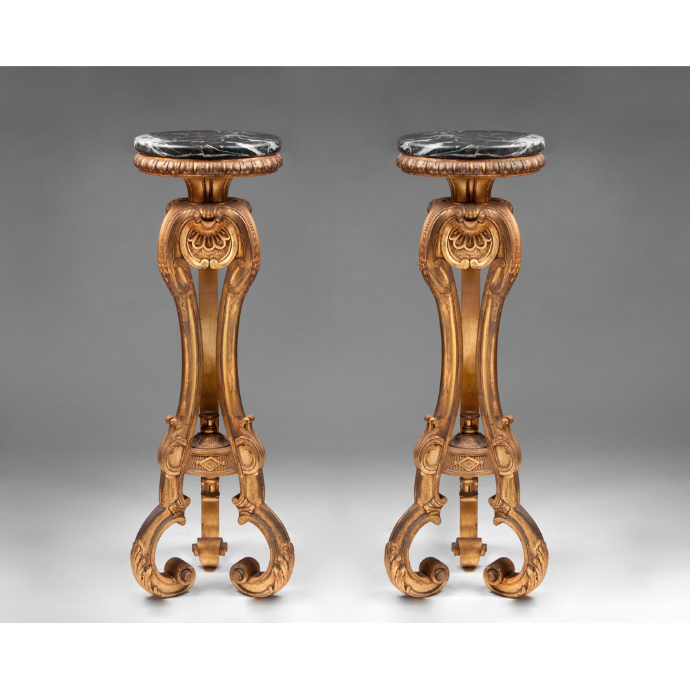 Pr. Early 20th C. Giltwood Venetian Carved Pedestals