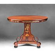 Neoclassical Style 19th C. Italian Walnut Center Pedestal Table