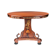 Neoclassical Style 19th C. Italian Walnut Center Pedestal Table