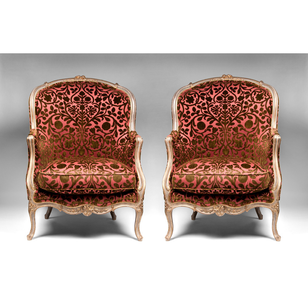 Early 19th C. Painted Beechwood Louis XV Bergere Chairs