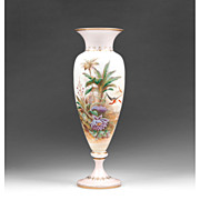 19th C. Bohemian Opaline Vase With Raised Enamel Landscape