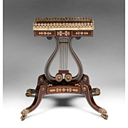 1820 English Regency Rosewood Gilt Brass Inlaid Occasional Table