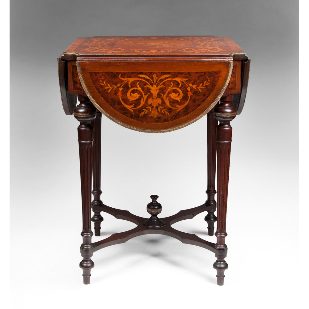 Mid 19th C. Louis XVI Style Marquetry Hinged Specimen Writing Table