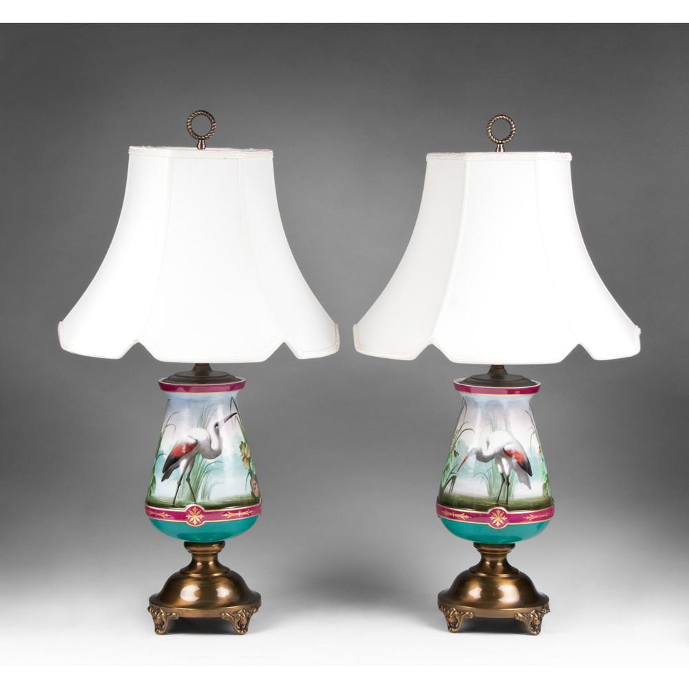 Pr. 19th C. Aesthetic Movement Paris Porcelain Vases Fitted As Lamps