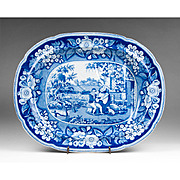 Early 19th C. Staffordshire Pearlware Blue & White Transfer Platter