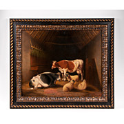 19th C. Oil on Canvas of Cows and Sheep in Barn