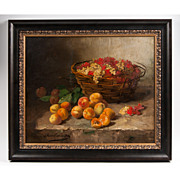 Still Life Oil On Canvas By Alfred Arthur Brunel de Neuville