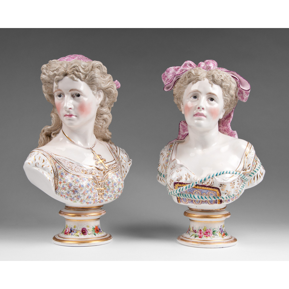 Pair of 19th C. Porcelain Continental Busts