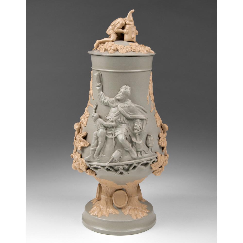 German Mettlach Relief Stoneware Pokal, Gambrinus Drinking