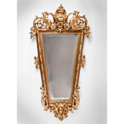 Mid 19th C. Italian Baroque Giltwood Carved Mirror