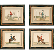 Set of Four Hand Colored Prints Of Baron Eisenberg Horses