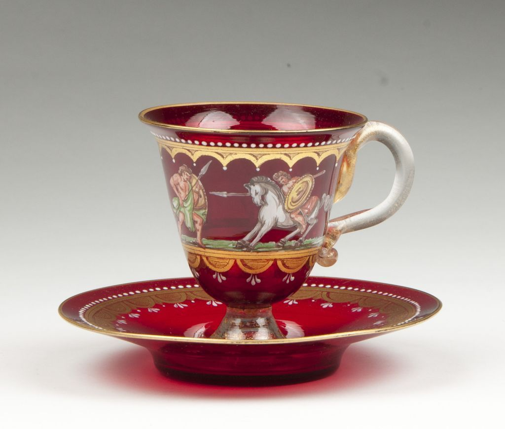 Murano Venetian Enameled Ruby Glass Cup & Saucer