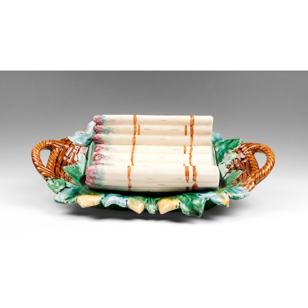 Late 19th C. French Majolica Barbotine Asparagus Dish