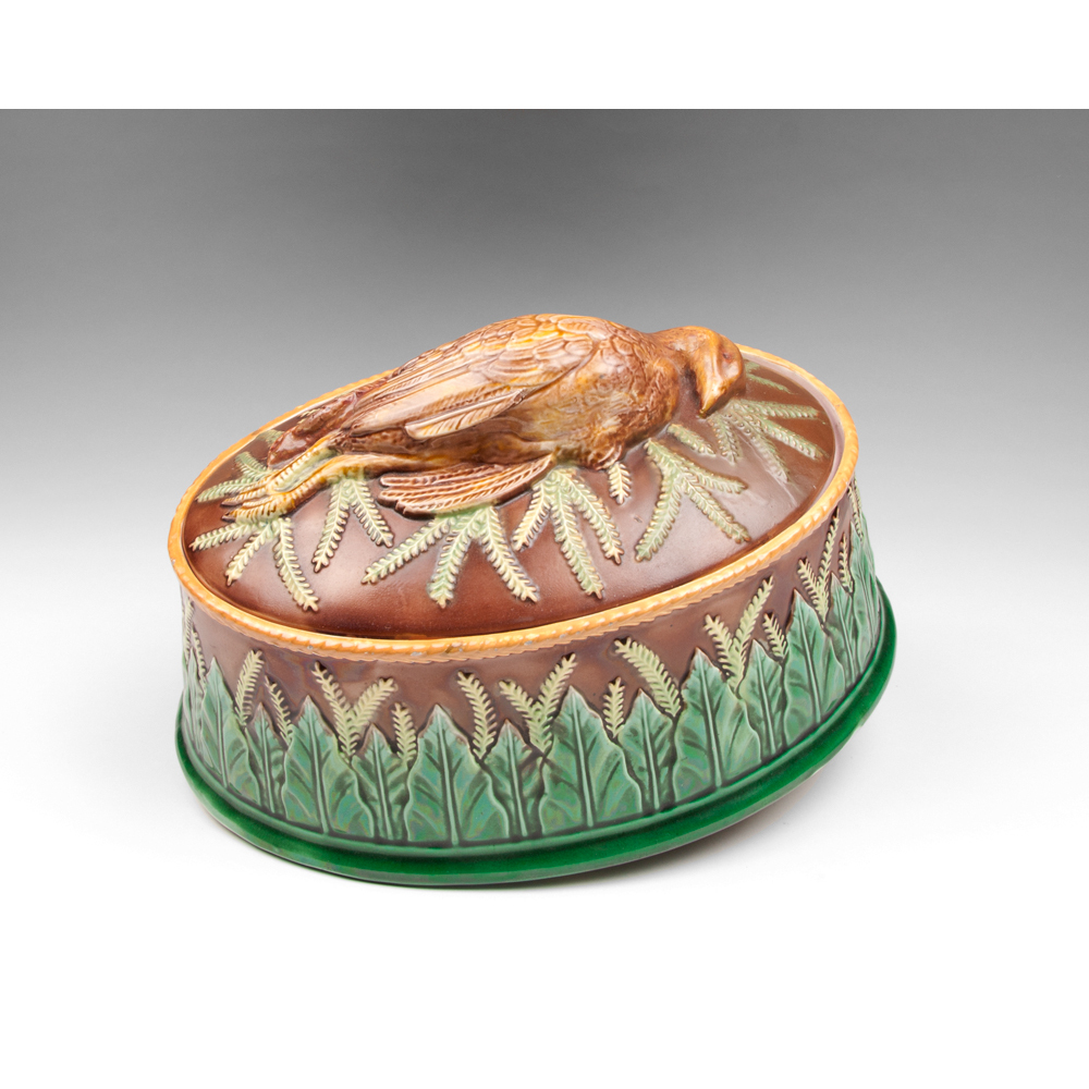 George Jones Majolica Game Dish & Liner With Quail On Cover