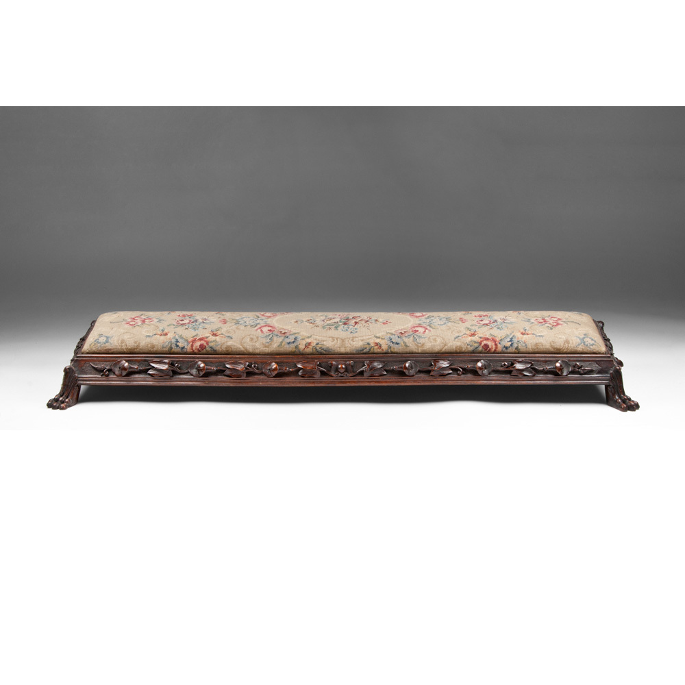 Late 19th C. English Carved Fireplace Fender Stool With Needlepoint