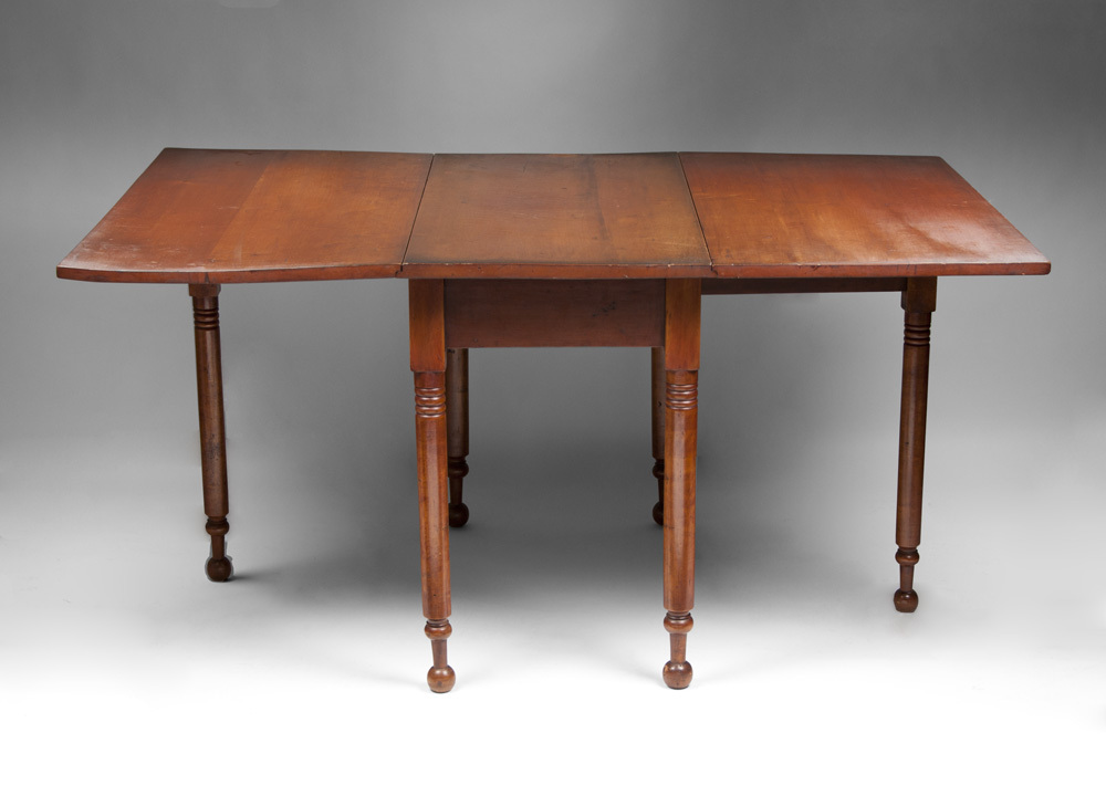 19th C American Cherry Drop Leaf Gate Leg Dining Table from