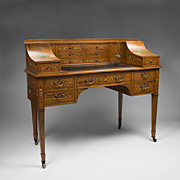 Maple & Co. Edwardian Painted Satinwood Carlton House Desk