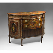 18th C. George III Painted Adams Satinwood Demilune Cabinet