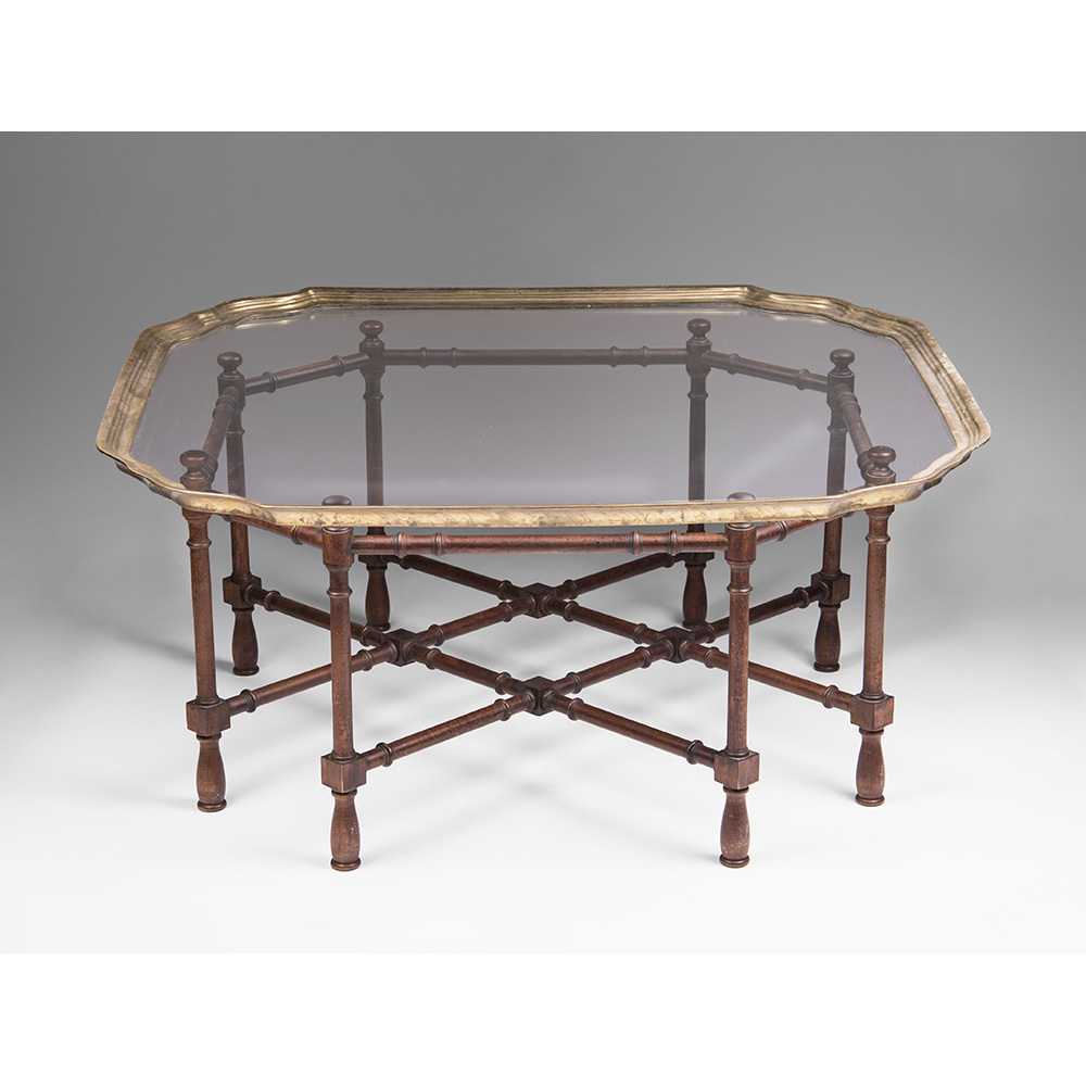 Vintage baker furniture faux bamboo coffee table with for Vintage coffee table