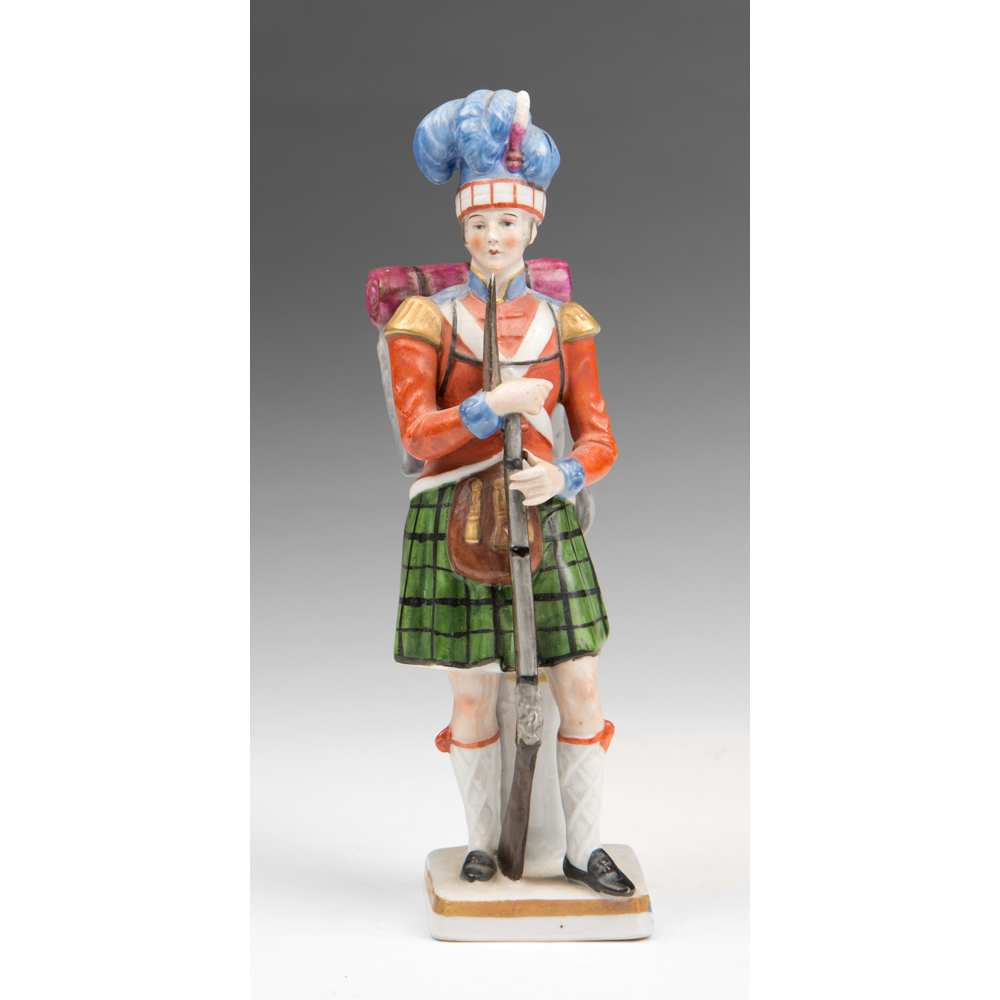 Sitzendorf German Porcelain Figurine of Highland Regiment Infantryman