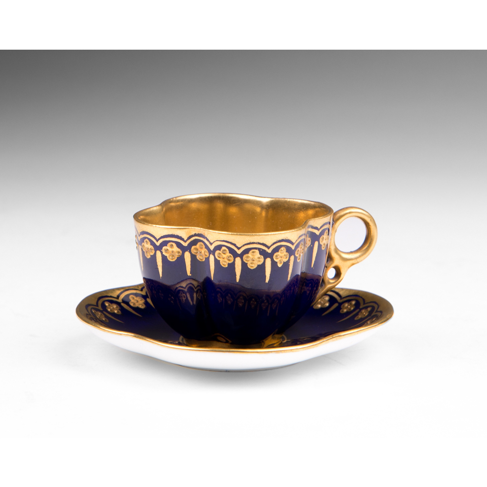 Miniature Coalport Jeweled Cup & Saucer