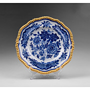 Copeland Spode 1880 Blue & White Gilt Rimmed Dinner Plate