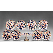 19th C. English Booth's Ironstone Imari Pattern Dessert Plates & Compote, 9 Pcs.