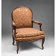 Early 20th C. Louis XV Style Carved Fauteuil Or Armchair