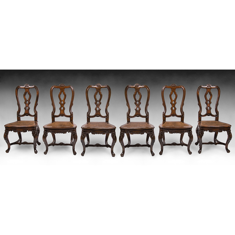 Set of Six Mid 19th C. Spanish Portuguese Queen Anne Side Chairs