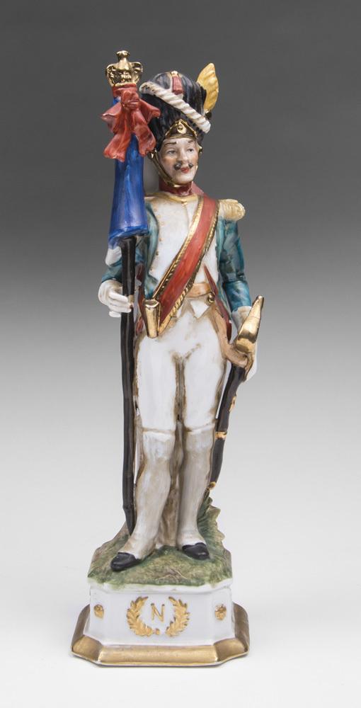Capodimonte Porcelain Napoleonic Soldier, Flag Bearer