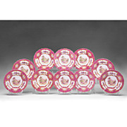 Set of Ten Copeland Spode Pink Transferware Luncheon Plates