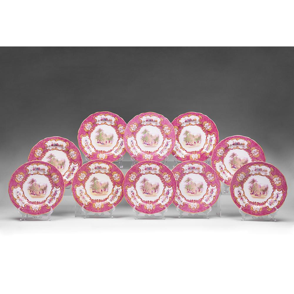 Set of Ten Copeland Spode Pink Transferware Luncheon Plates