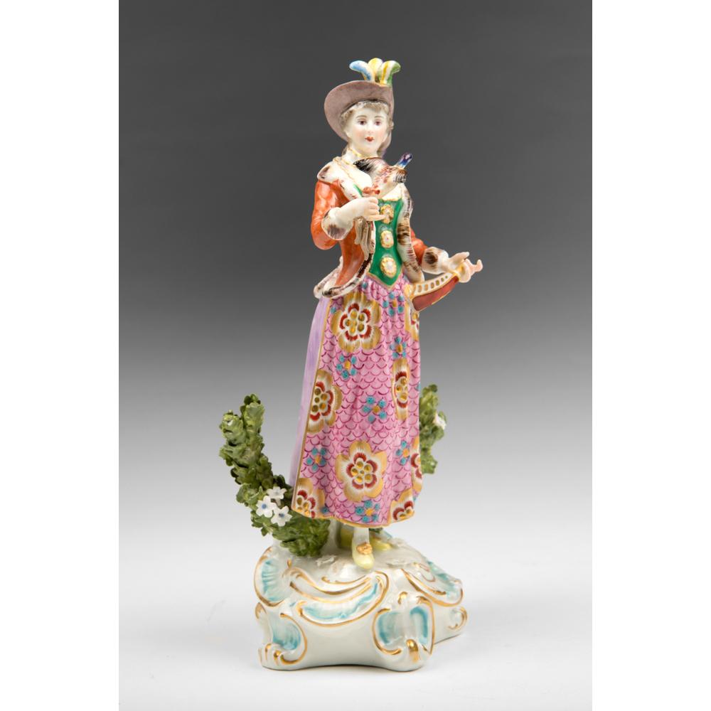 Edme Samson Porcelain Figurine Of Female Pheasant Hunter