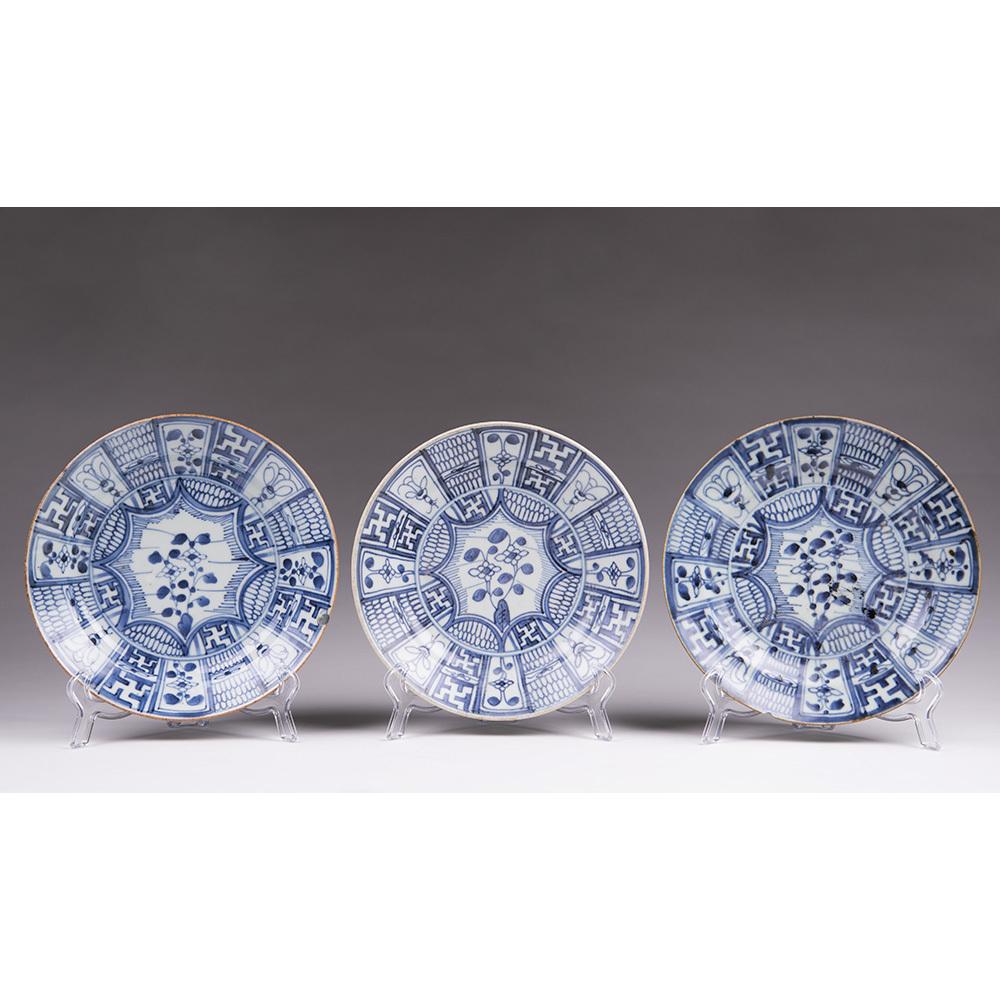 Set Of Three 18th C. Jingdezhen Kraak Porcelain Plates